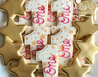 Star Twinkle Twinkle Little Star First Birthday Baby Shower Cookies
