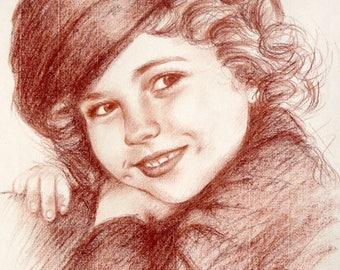 "Shirley Temple original Portrait of girl 30 x 40 cm 12 x 16 ""American actress"