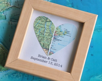 Wedding Gift for Groom from Bride Gift for Couple Map Heart Framed with Text