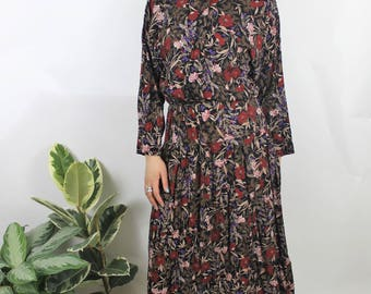 1990s Black Berry Print Midi Dress Size UK 12, US 8, EU 40