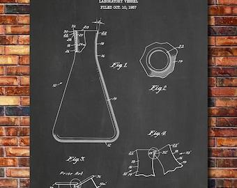 Erlenmeyer Flask Patent Print Art 1960
