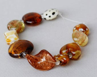 Lampwork Bead Set #2 - Golden Colors - Jewelry Making - Beading