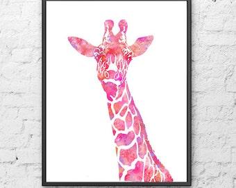 Girl nursery print, giraffe print, pink decor, pink print, baby girl room, giraffe art, animal art, giraffe silhouette - H185