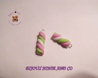 2 pink, green and white Marshmallow polymer clay charm