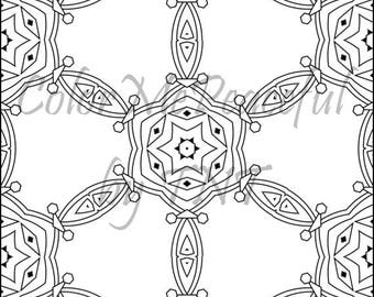 Kaleidoscope Adult Coloring Page - Calm Kaleidoscopes, Volume 1, Page 1 | Printable Instant Download