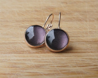 Brown/cabochon earrings pink gold / cabochon 12 mm/trendy gift for you