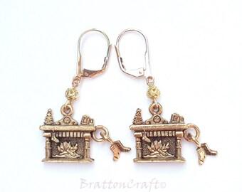Christmas Hearth Earrings - Fireplace Earrings - Christmas Earrings - Christmas Jewelry - Holiday Earrings - Holiday Jewelry