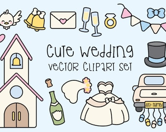 Premium Vector Clipart - Kawaii Wedding Clipart - Kawaii Clip Art Set - High Quality Vectors - Instant Download - Kawaii Clipart