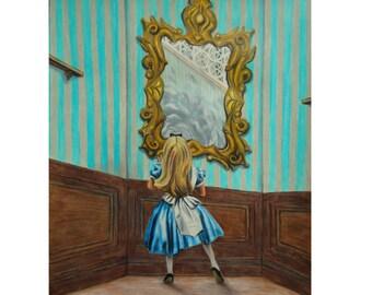 Alice in Wonderland - Original artwork - Through the Looking glass - Original drawing - Fantasy art - Story art - Alice art - Blue dress