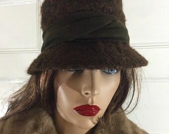 Vintage 50s Bucket Hat - Brown Cloche - Fuzzy Brown Hat