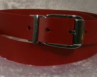 Red leather belt with 30mm buckle and belt loop Made to Order