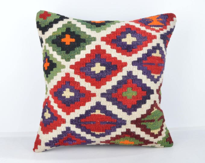 Wool Pillow, Kilim Pillow,  Decorative Pillows, Designer Pillows,  Bohemian Pillow, Accent Pillows, Throw Pillows, KP39 (tp1076)