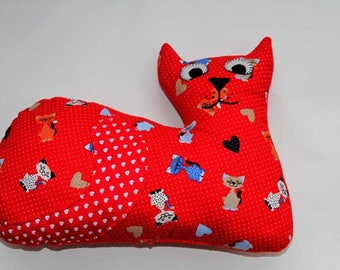 Lying cat cushion, 41x31cm, red cat with dots and cats to cat lovers