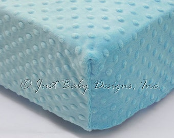 Fitted Crib Sheet - Minky Dot Light Turquoise Blue