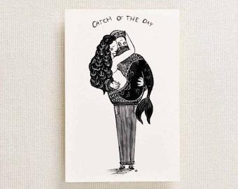 Mermaid and Fisherman Illustrated Postcard