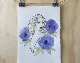 Inktober day twenty two 'Anemone' Original ink and watercolour drawing / painting
