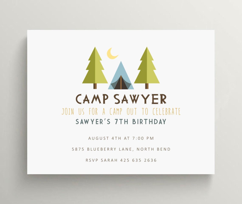 camping birthday invitation camping baby shower invitation