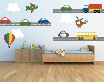Truck Wall Decal - Plane Wall Decal - Car Wall Decal - Transportation Wall Decal - Boy Wall Decal-Nursery Wall Decal-Kids Wall Decals  sc 1 st  Etsy : car wall decal - www.pureclipart.com