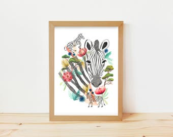 dibujo cebra, dibujo botánico, ilustración zebra, ilustración botánica, ilustración naturaleza, dibujo floral, dibujo animal, dibujo áfrica