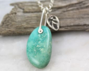 Wintergreen Turquoise and Stamped Leaf Pinned Pendant Necklace