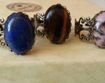 Natural stone rings, chakras, Crystal therapy, reiki, Tiger eye, lapis lazuli, rhodonite