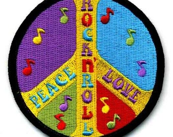1960s-70s Hippie Peace Movement  PEACE LOVE and ROCK n Roll Patch 3 inch