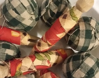 Primitive rag balls counry rag balls green plaid colors and red plaid clothes pegs
