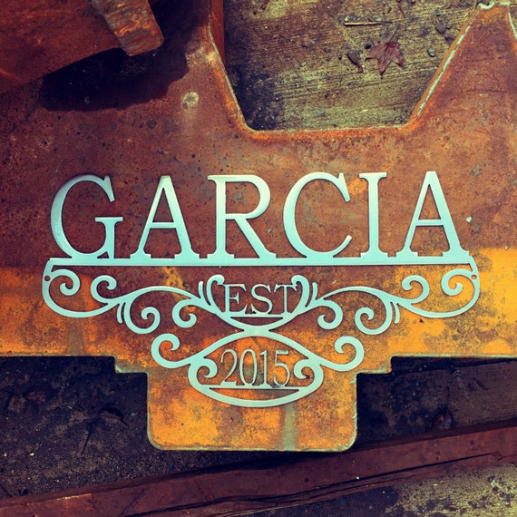Custom Metal Name Sign with Established Date | 11th Anniversary Gift