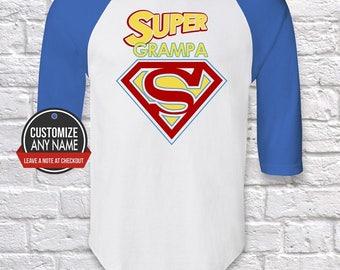 Super Grampa, Grandpa Gift, Grampa Birthday, Father's Day, Grampa Tshirt, Grampa Gift Idea, Baby Shower,