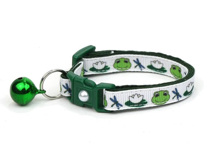 Frog Cat Collar - Frogs and Lilypads - Small or Large Size - Breakaway - Safety