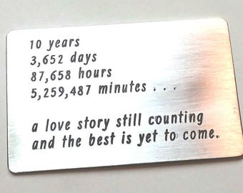 10 year Anniversary ~ Wallet card insert ~ ten tin year gift idea ~ husband man gift ~ Love note message card