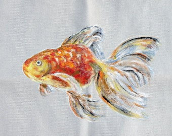hand painted tote bag- grey and orange-goldfish-personalized canvas tote-unique design