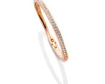 Rose Gold Pave Crystal Bangle Bracelet , Rose Gold Stacking Bracelets , Eternity Bracelet