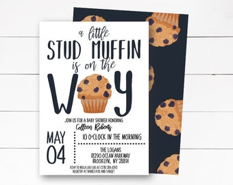 A Little Stud Muffin Is on the Way Invitation, Baby Shower Invitation, Boy Baby Shower Invitation, Stud Muffin Invitation, DIY or Printed