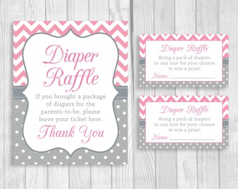 SALE Diaper Raffle Pink and Gray 5x7, 8x10 Printable Sign and Sheet of 3x5 Raffle Tickets - Girl's Chevron and Polka Dots, Instant Download