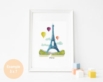 Paris Art Print, Paris Water colour Skyline Wall, Hot air balloon Art, Eiffel Tower, illustration, Art For Home, Nursery Art Print SPPPS3