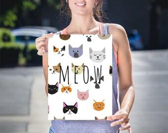 Wall art print cat poster, cat art print, cats, home wall decor, modern print, cat print, Cat poster, gift, animal poster, cats meow