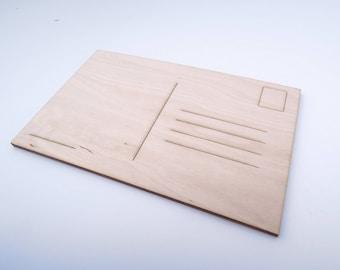 "Set of 10 pcs. Wooden Postcards for Crafts 14x9cm (5,5x3,5 "") - Laser Cut - Wooden Postcard - Blank Postcard - Custom Postcard"