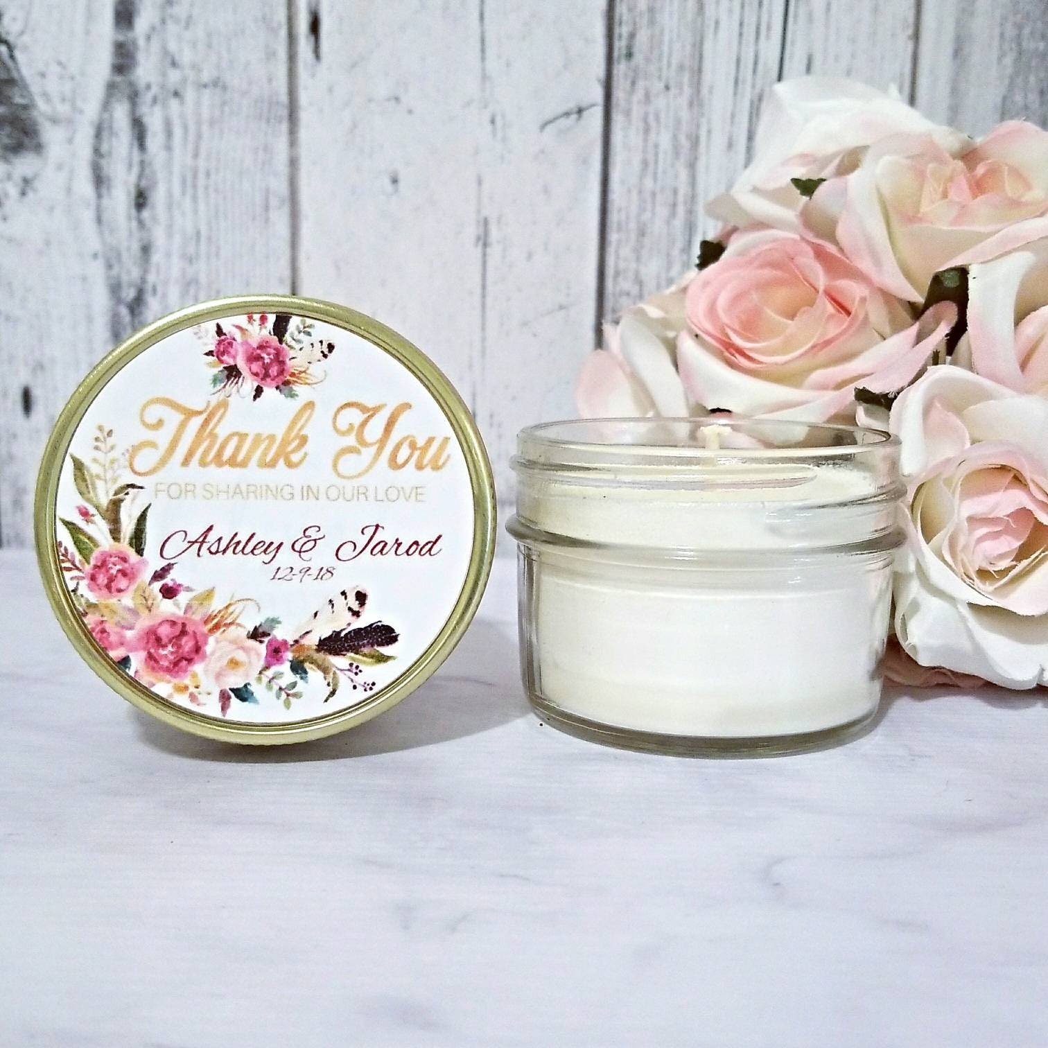 Wedding Candle Favor - Blush and Gold Wedding Favors Candle ...