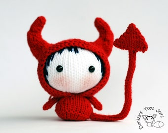 Halloween Devil Doll. Tanoshi series doll. PDF Knitting pattern. Cute halloween ornament. Day of the dead gothic gift.