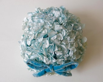 VINTAGE FLORAL FASCINATOR - French blue hydrangeas  hat from 1952