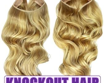 "Fits like a Halo Hair Extensions 20"" - 150 Grams 100% Premium Fiber Wavy Hair (Medium Cool Blonde/Lightest Blonde Mix - P#16/613)"