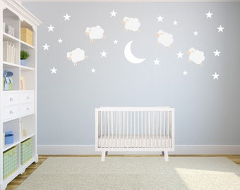 Sheep Jumping over the Moon Wall Decals, Wall Decals Nursery, Nursery Wall Decal, Nursery Wall Decal, Kids Wall Decal, REUSABLE