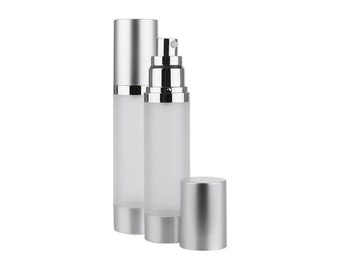 Frosted Bottle with Brushed Aluminum Treatment Pump | Silver Upscale Airless Pump | 1.7oz/50ml Skincare Containers