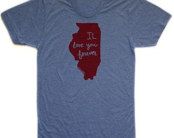 illinois shirt, illinois tshirt, IL love you forever, graphic t, state pride, woman fashion t, screen print, silkscreen, free shipping