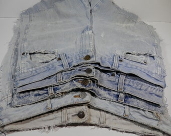 3.6 lb Blue Jeans Denim Pants Fabric Remnant Bundle Destash Craft Project Making Recycle DIY Reuse Ecofriendly Scrap Multipurpose Stash