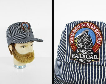 Vintage Railroad Museum Hat Durango CO Engineer Stripe Cap Made in USA