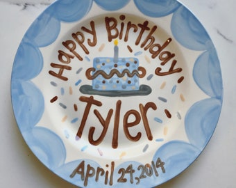 Boys Birthday Plate // Scallops & confetti Personalized First Birthday Plate, Custom handpainted // it's your day // birthday cake