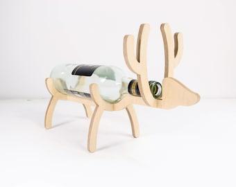 Wooden bottle holder - Wine bottle rack - Elk bottle holder - Christmas wine rack - Christmas present -  Christmas elk - Santa elk wine rack