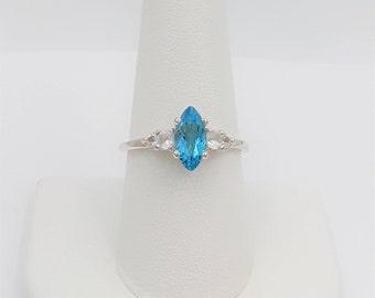 Sterling Silver Topaz & Lab Sapphire Ring